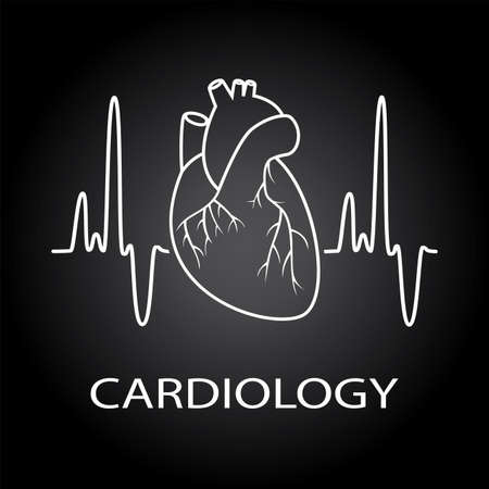 medical drawing: vector human heart medical symbol of cardiology