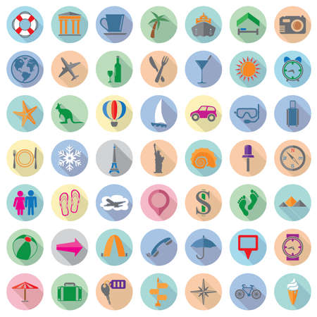 vector set of colorful travel flat icons  Vector