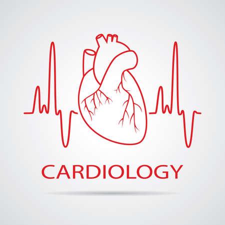 人間の心循環器医療シンボル  イラスト・ベクター素材