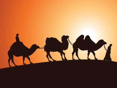 camel: illustration of caravan of bactrian camels and bedouins in egyptian desert  Illustration