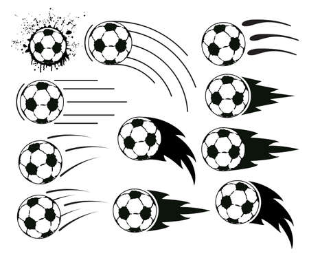 grunge designs of flying soccer and football balls Vector