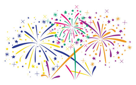 abstract anniversary bursting fireworks with stars and sparks on white background  Ilustração