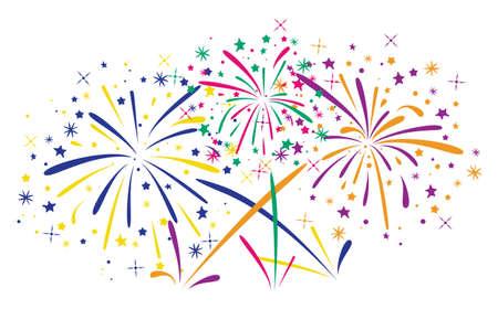 white abstract: astratto fuochi d'artificio anniversario pieno di stelle e scintille su sfondo bianco Vettoriali