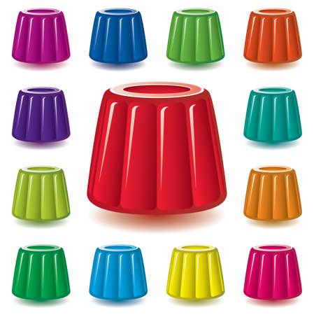 gelatine: vector colorful gelatin jelly assortment