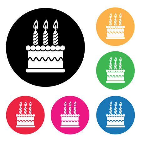 red and yellow card: vector birthday cake graphic icon