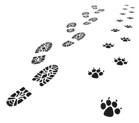 dog track: vector foot prints of man and dog
