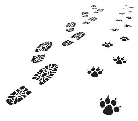 perro policia: Vector pie impresiones del hombre y el perro  Vectores