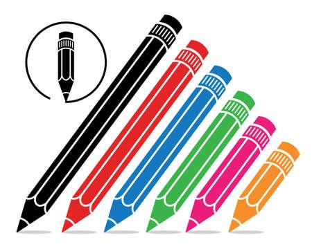 colour pencils: vector stylized school pencils  Illustration