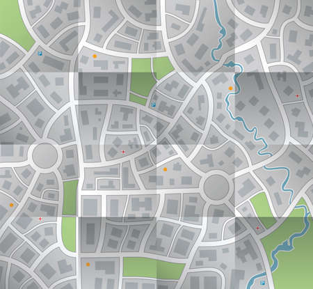 city map: vector paper city map with folds Illustration