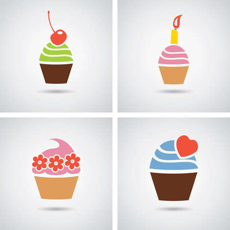 cupcakes isolated: vector collection of isolated colorful cupcakes icons