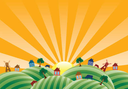 tree farming: vector agricultural landscape with farm fields