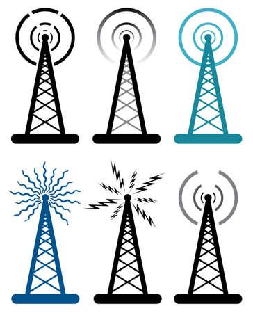 vector design of radio tower symbols  Vectores