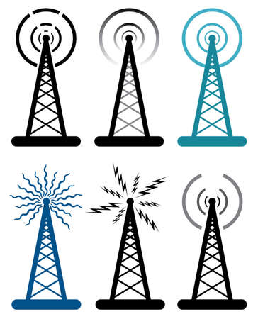 vector design of radio tower symbols  Illustration