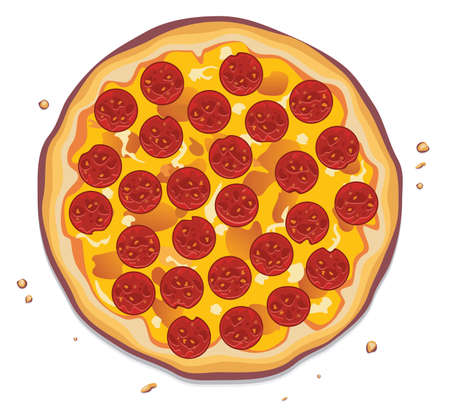 pizza ingredients: vector illustration of italian pizza with pepperoni slices