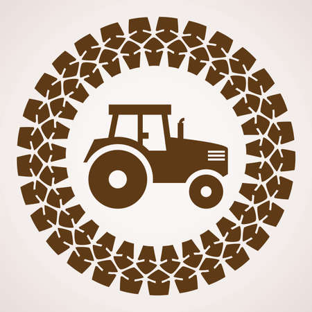 vector design of tractor tire print with symbol of tractor inside