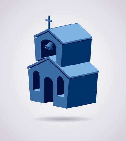 door bell: vector 3d symbol of church building