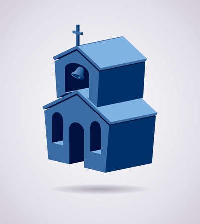 open the door: vector 3d symbol of church building