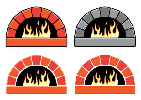 brick background: Clipart vettoriali set di forni con fuoco che brucia