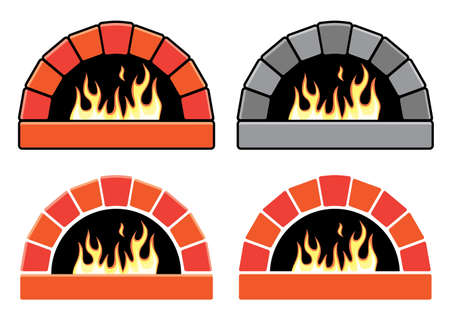 oven: vector clipart set of ovens with burning fire