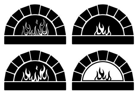 oven: vector black and white clipart set of ovens with burning fire