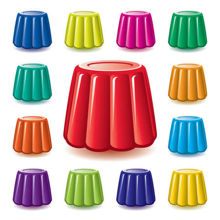 assortment: vector colorful soft gelatin jelly assortment