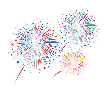 vector abstract anniversary bursting fireworks with stars and sparks on white background Ilustração