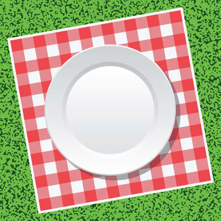 picnic cloth: vector red picnic tablecloth and empty plate on green grass