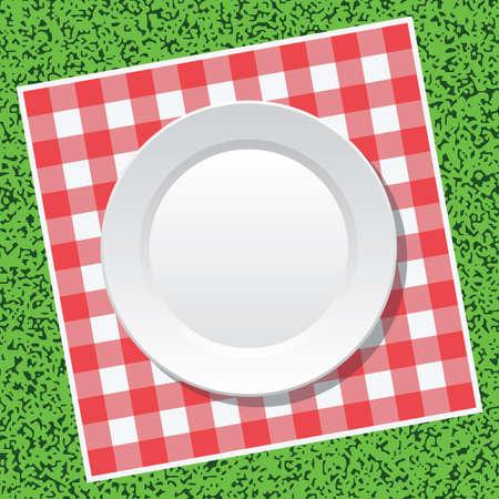 pietanza: vettore rosso tovaglia da picnic e piatto vuoto su erba verde