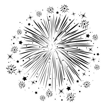 bursting: vector abstract anniversary bursting fireworks with stars and sparks, black and white