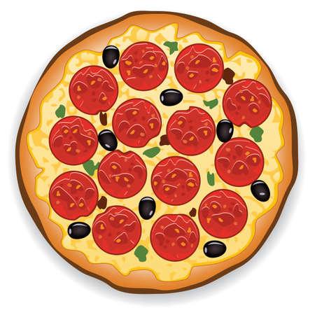 vector illustratie van de Italiaanse pizza met pepperoni plakjes