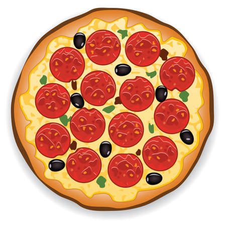 pepperoni: vector illustration of italian pizza with pepperoni slices