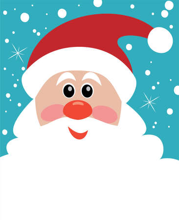 vector christmas illustration of santa with big beard for your text
