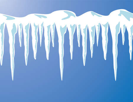 vector icicles and snow background