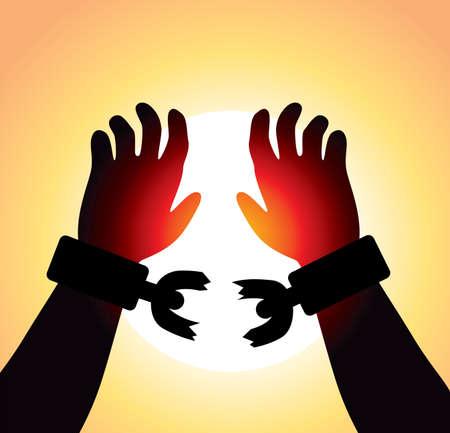amanecer: manos levantadas vector del hombre con cadenas rotas
