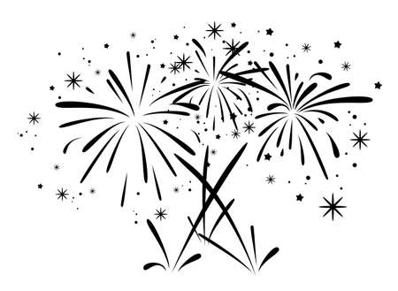 flames background: vector abstract black and white anniversary bursting fireworks with stars and sparks