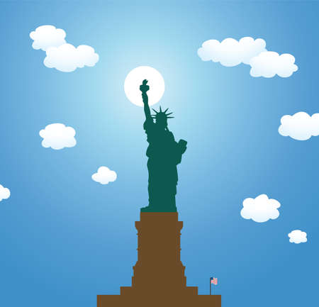 vector statue of liberty and bright sun Vector
