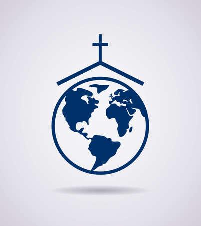 familia en la iglesia: vector s�mbolo o icono de la iglesia