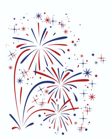 red white blue: vector abstract anniversary bursting fireworks with stars and sparks on white background Illustration