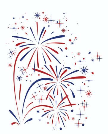 color white: vector abstracto aniversario de fuegos artificiales que estallan con las estrellas y las chispas sobre fondo blanco
