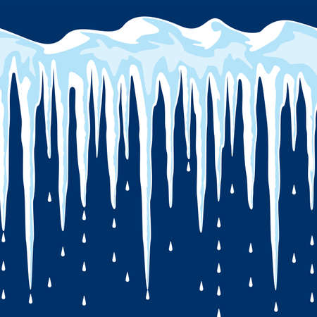 thaw: vector long icicles and snow background