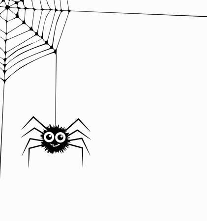 vector cartoon of hanging spider and web network