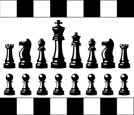 team mate: vector set of black and white chess pieces