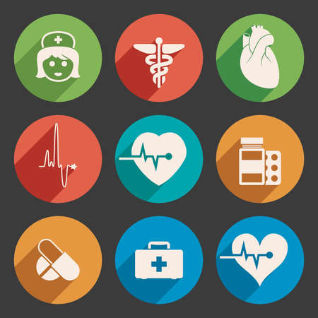 caduceo: vector conjunto de iconos de médicos