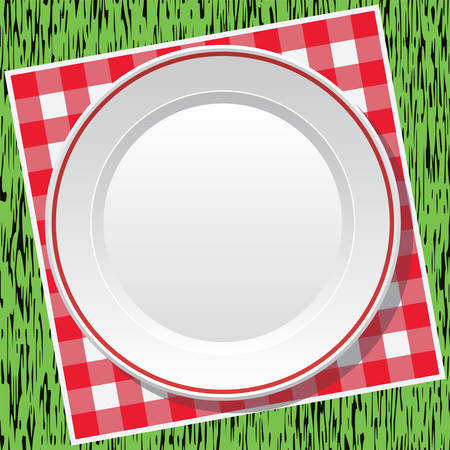 picnic blanket: vector red picnic tablecloth and empty plate on green grass