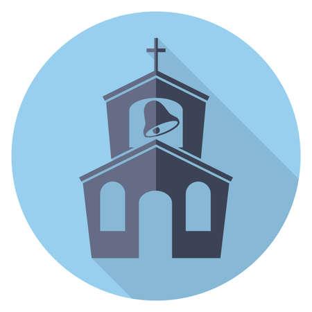iglesia: vector s�mbolo plana o en el icono de la construcci�n de la iglesia Vectores
