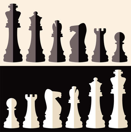 vector set of flat icons of chess pieces Vector