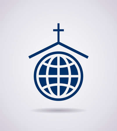 familia en la iglesia: vector símbolo o icono de la iglesia