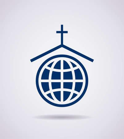 christ church: vector symbol or icon of church