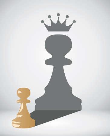 vector kleine schaken pion met de schaduw van een grote koning