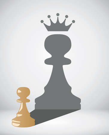 rey caricatura: vector pequeño peón de ajedrez con la sombra de un gran rey Vectores